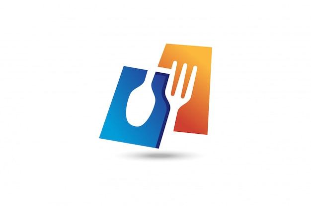 Logo forchetta e cucchiaio. Vettore Premium