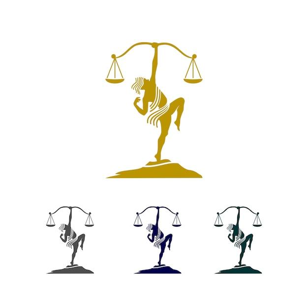 Logo freccia giustizia Vettore Premium