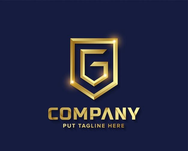 Logo g iniziale di lusso creativo business lettera d'oro Vettore Premium