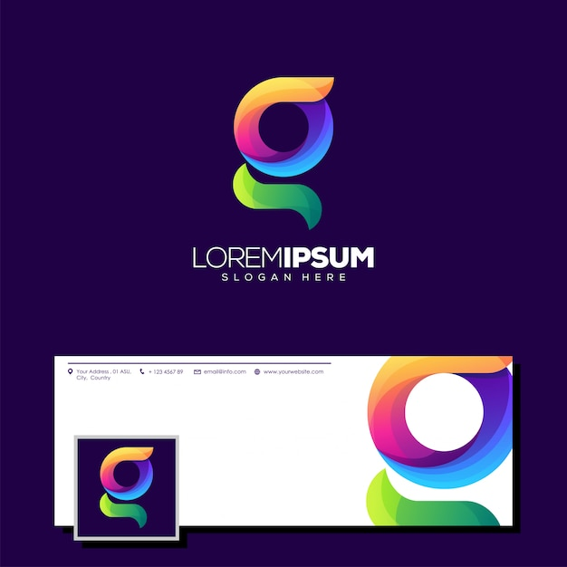 Logo g logo pronto all'uso Vettore Premium