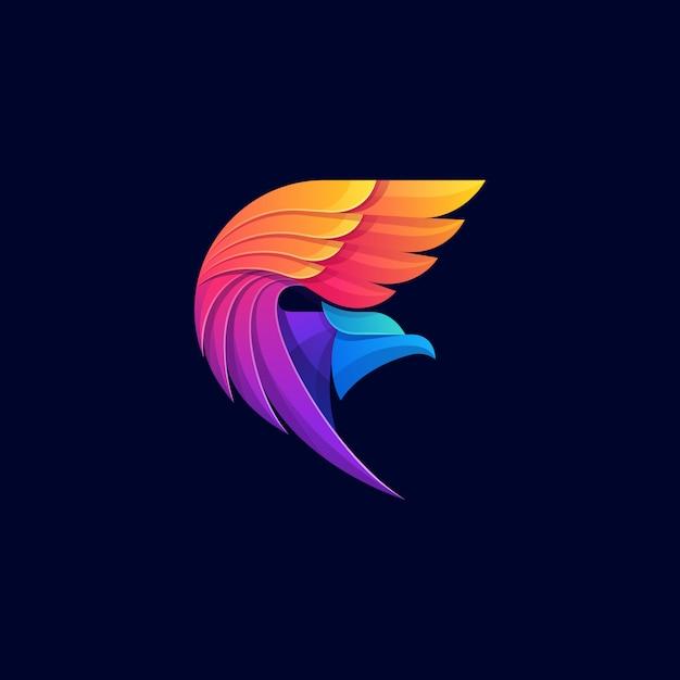 Logo geometrico colorato aquila Vettore Premium