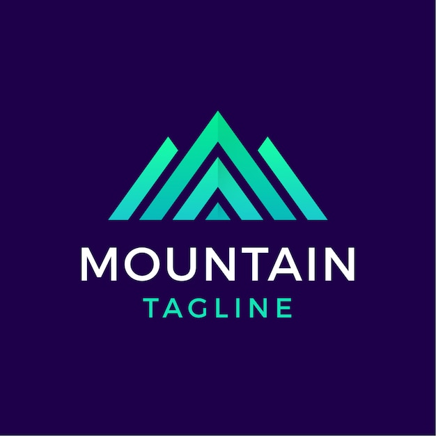 Logo geometrico di montagna in stile moderno Vettore Premium