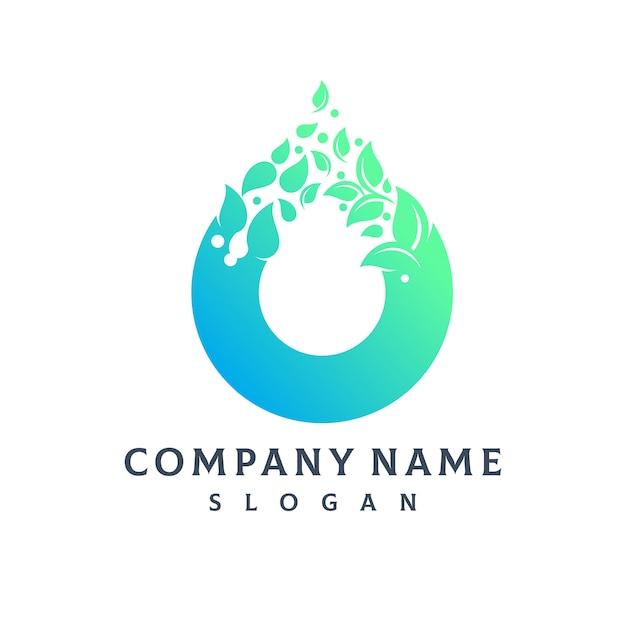 Logo goccia d'acqua foglia Vettore Premium