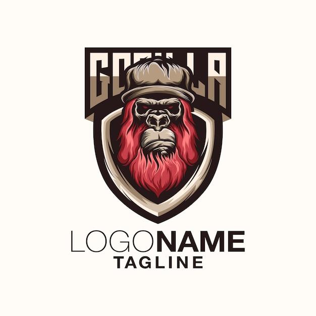 Logo gorilla design Vettore Premium