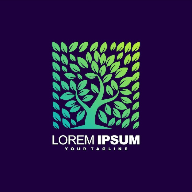 Logo gradiente albero fantastico Vettore Premium