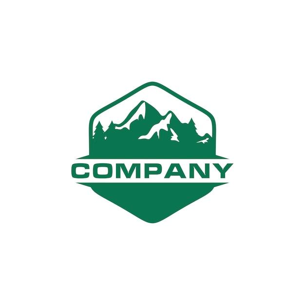 Logo green mountain outdoor Vettore Premium