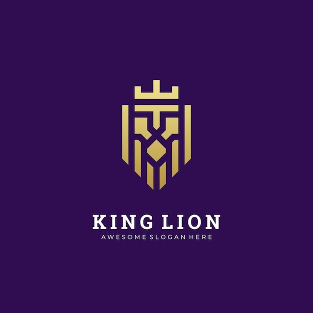 Logo illustration abstract lion head con il re della corona semplice e minimalista Vettore Premium