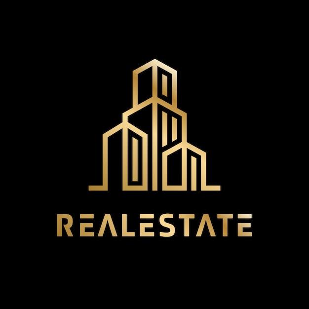 Logo immobiliare dorato di lusso Vettore Premium