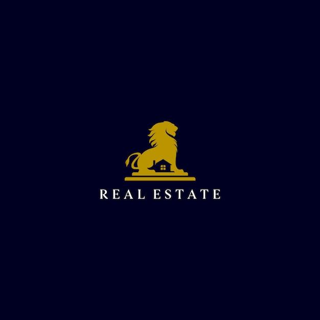Logo immobiliare lion Vettore Premium