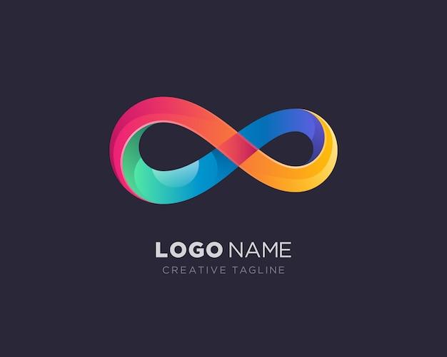 Logo infinito colorato Vettore Premium