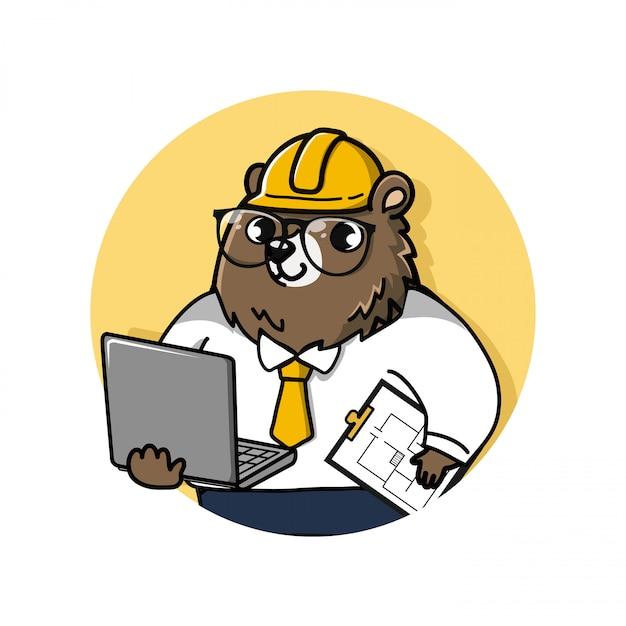 Logo ingegnere orso simpatico e amichevole detiene un computer portatile e documenti di disegno. Vettore Premium
