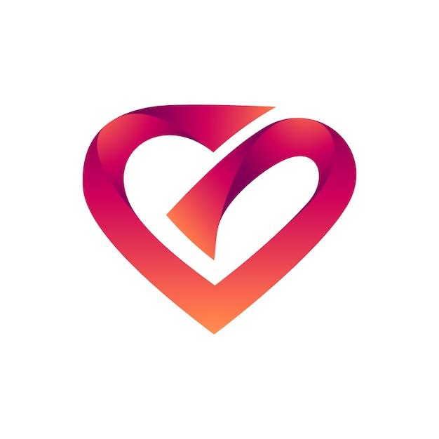 Logo iniziale lettera cuore g Vettore Premium