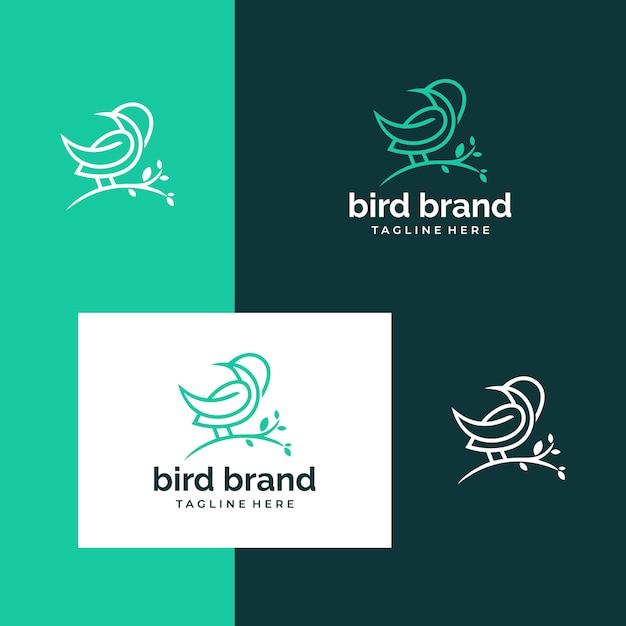 Logo ispiratore di uccelli e alberi Vettore Premium