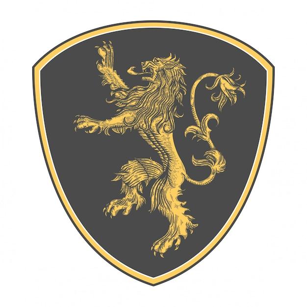 Logo leone classico con stile incisione Vettore Premium