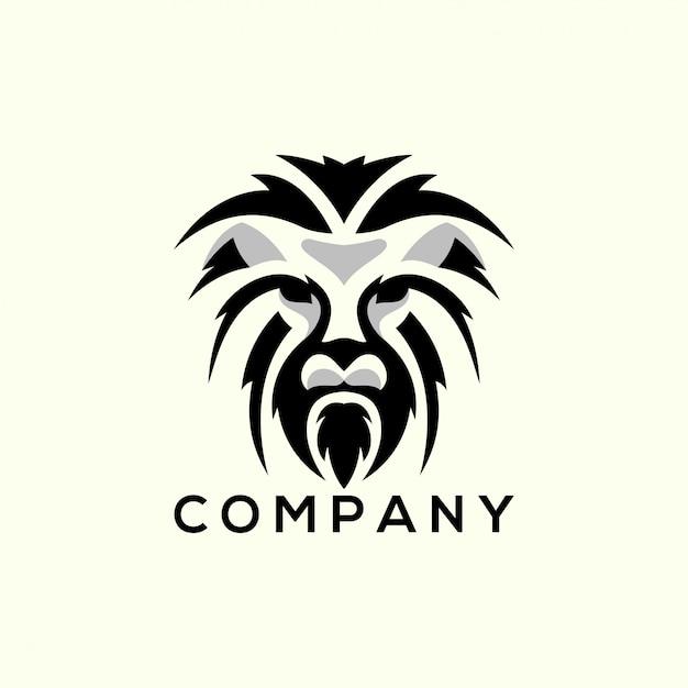 Logo leone silhouatte Vettore Premium