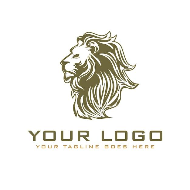 Logo leone testa vintage Vettore Premium