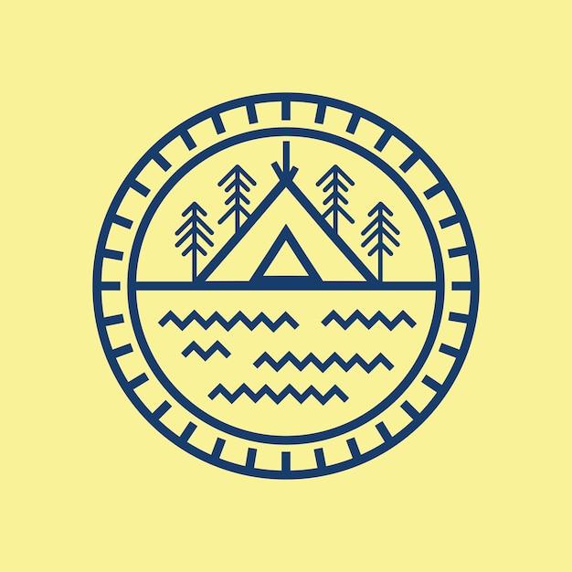 Logo line art camping ground Vettore Premium