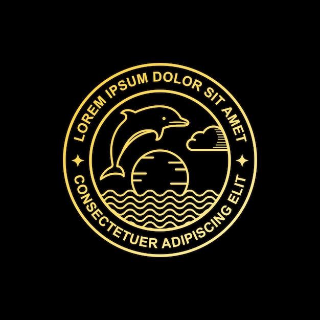 Logo line art delfino Vettore Premium
