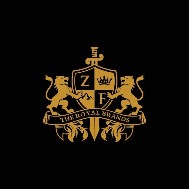 Logo lion heraldry Vettore Premium