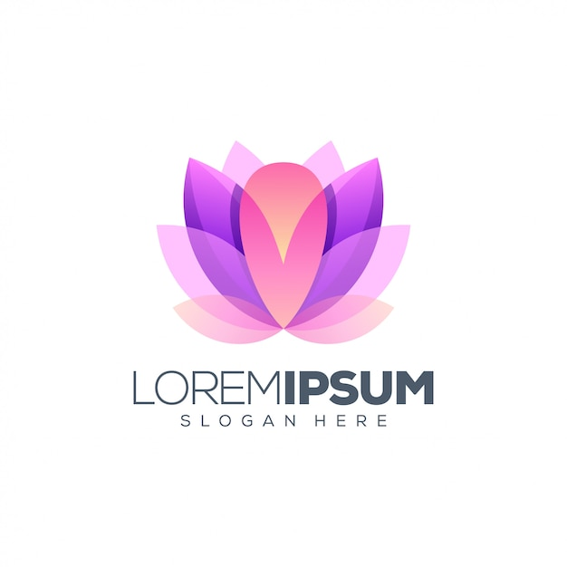 Logo lotus design pronto all'uso Vettore Premium