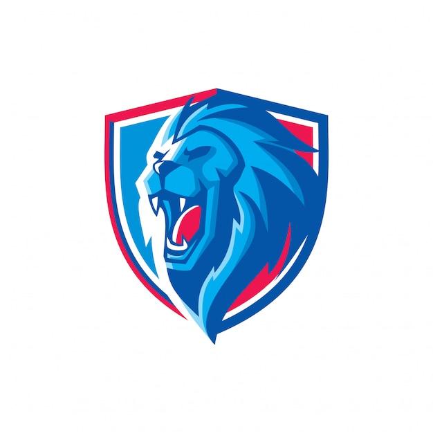 Logo mascot testa di leone esportazioni Vettore Premium
