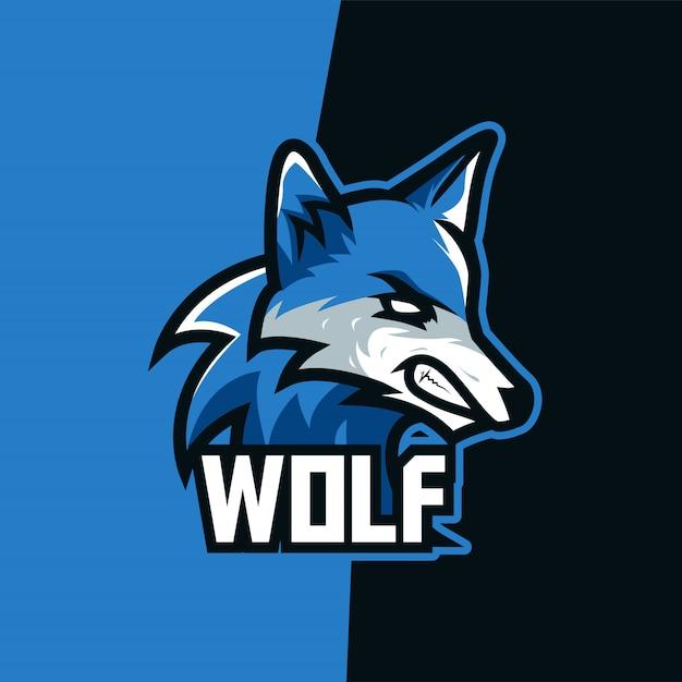 Logo mascotte blue sky wolf e-sport Vettore Premium