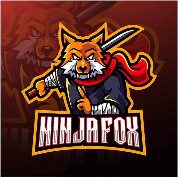 Logo mascotte di ninja fox esport Vettore Premium