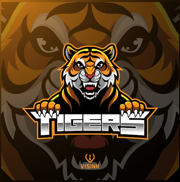 Logo mascotte faccia tigre Vettore Premium