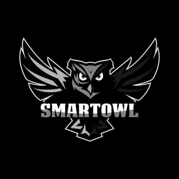 Logo mascotte gufo Vettore Premium