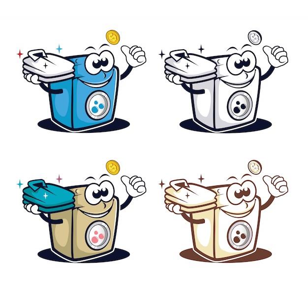 Logo mascotte personaggio lavatrice Vettore Premium