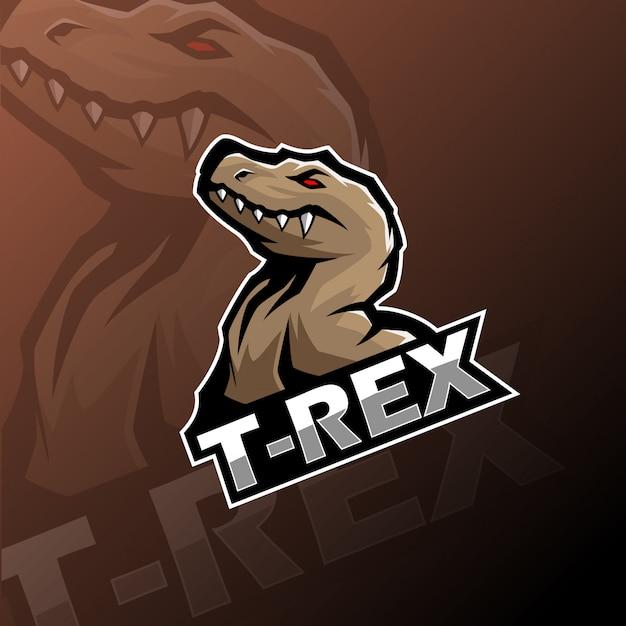 Logo mascotte t-rex esport Vettore Premium