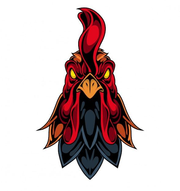 Logo mascotte testa di gallo Vettore Premium
