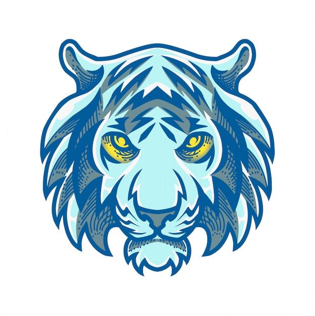 Logo mascotte testa di tigre Vettore Premium