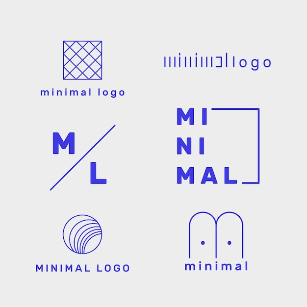 Logo minimal set modello in due colori Vettore gratuito