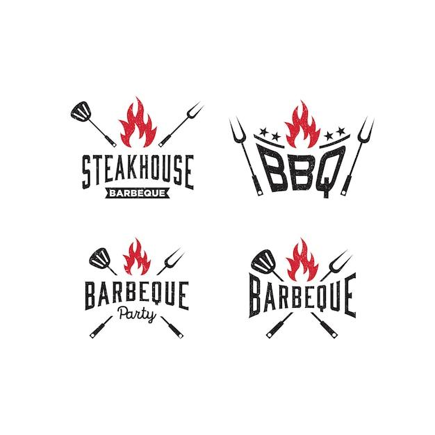 Logo modello barbeque, bbq Vettore Premium