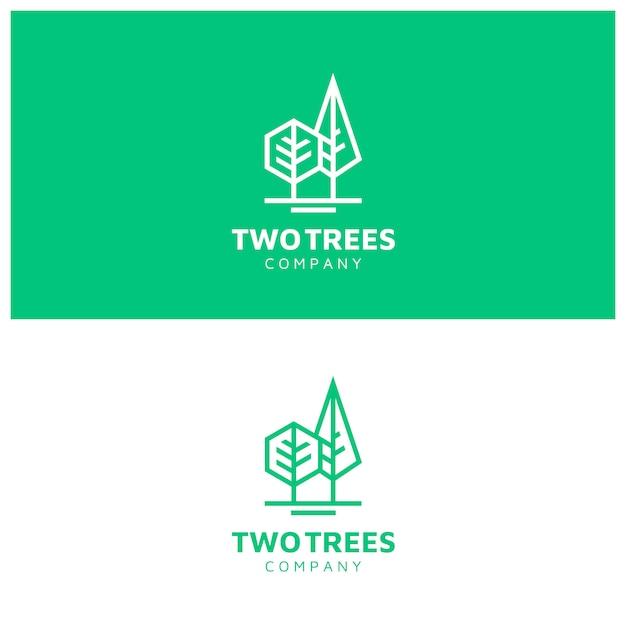 Logo modern simple trees con line art style Vettore Premium