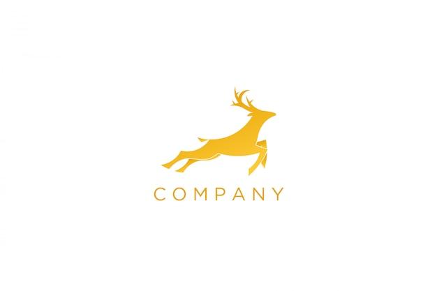 Logo moderno cervi da corsa giallo Vettore Premium