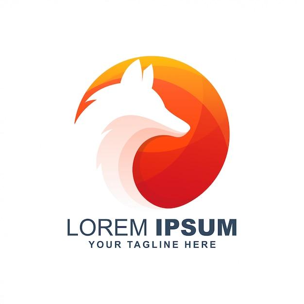 Logo moderno del cerchio del lupo della volpe Vettore Premium
