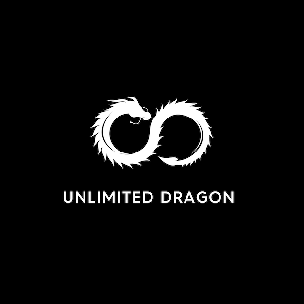 Logo moderno dragon illimitato Vettore Premium