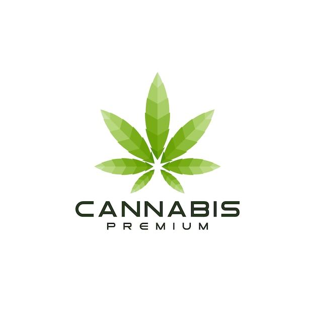 Logo moderno foglia di cannabis Vettore Premium