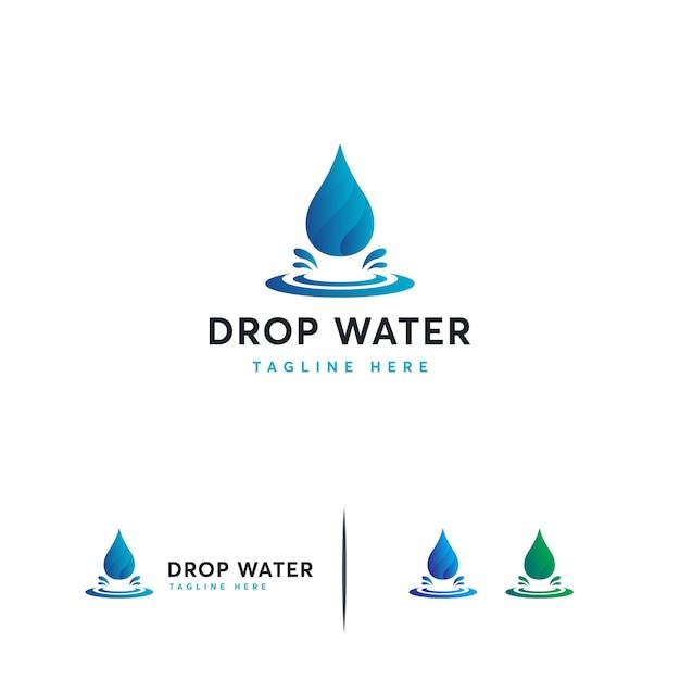 Logo moderno goccia d'acqua Vettore Premium