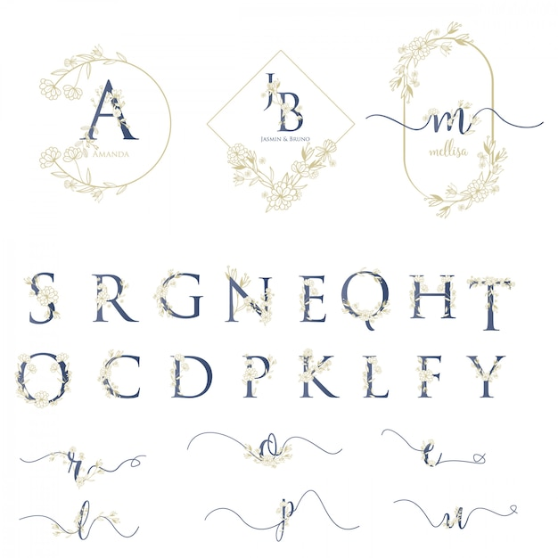 Logo moderno matrimonio con alfabeto Vettore Premium