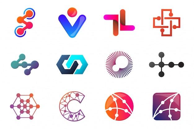 Logo moderno minimal vector per banner Vettore Premium