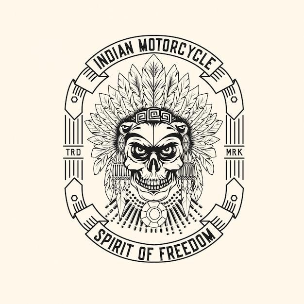 Logo motociclistico indiano Vettore Premium