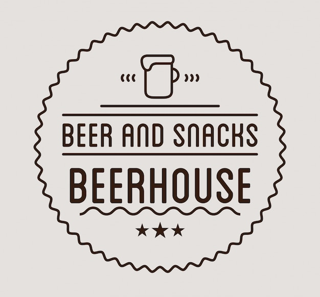 Logo nero modello di etichetta della casa della birra. Vettore Premium