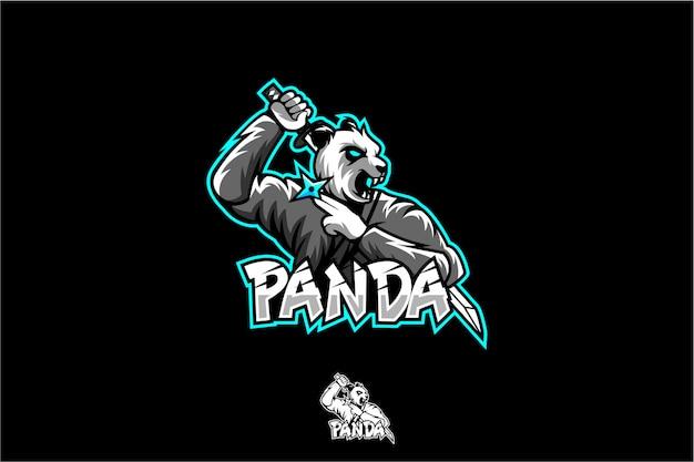 Logo ninja panda esport Vettore Premium