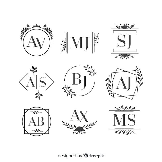 Logo o logotipo bello ed elegante impostato per matrimonio o fioraio Vettore gratuito