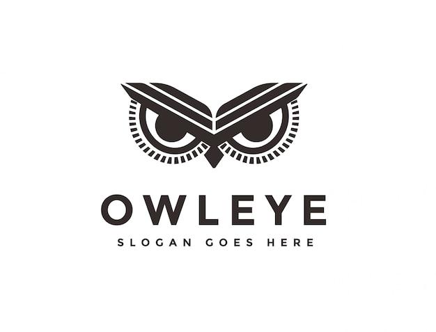 Logo occhio gufo Vettore Premium