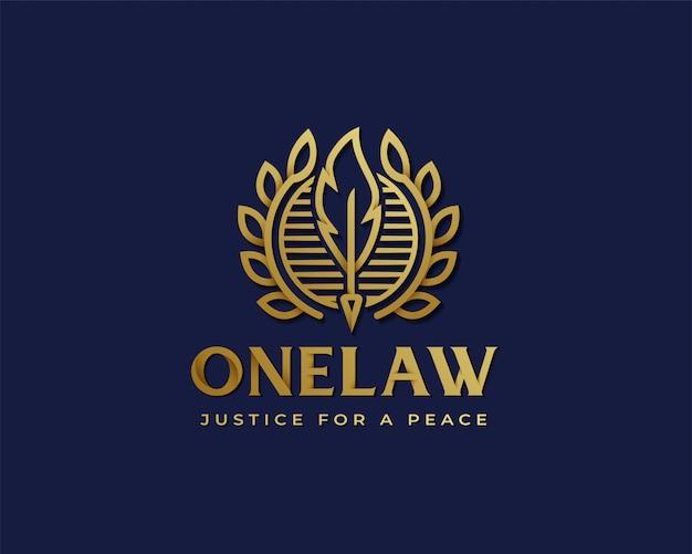 Logo oro premium law Vettore Premium