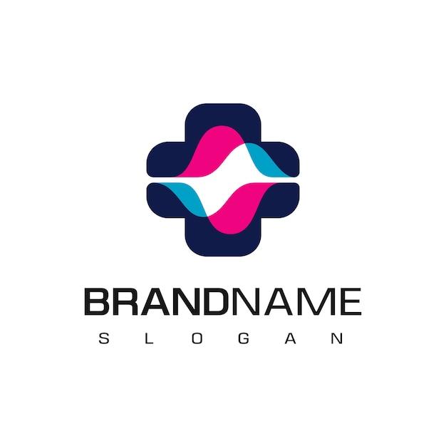 Logo ospedale con simbolo spettro Vettore Premium